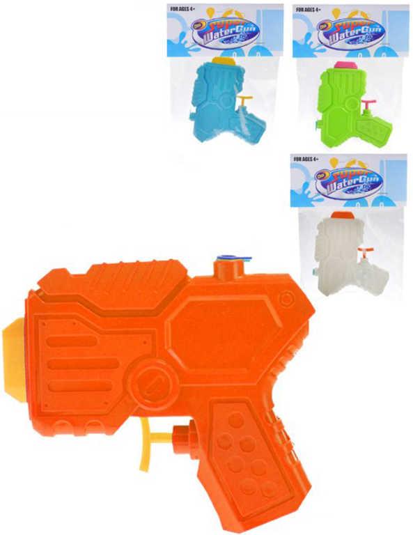 Pistole na vodu dětská 13cm plastová 4 barvy v sáčku