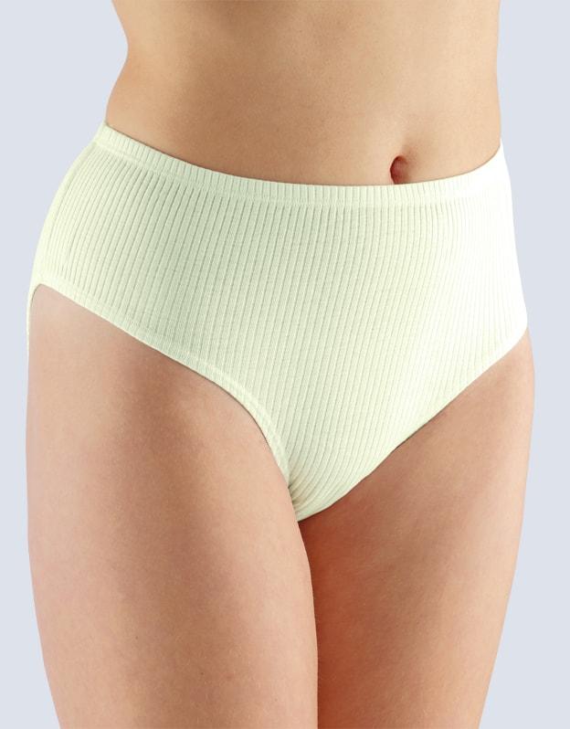 GINA dámské kalhotky klasické ve větších velikostech, větší velikosti, šité, jednobarevné 11029P - žlutobílá - 58/60