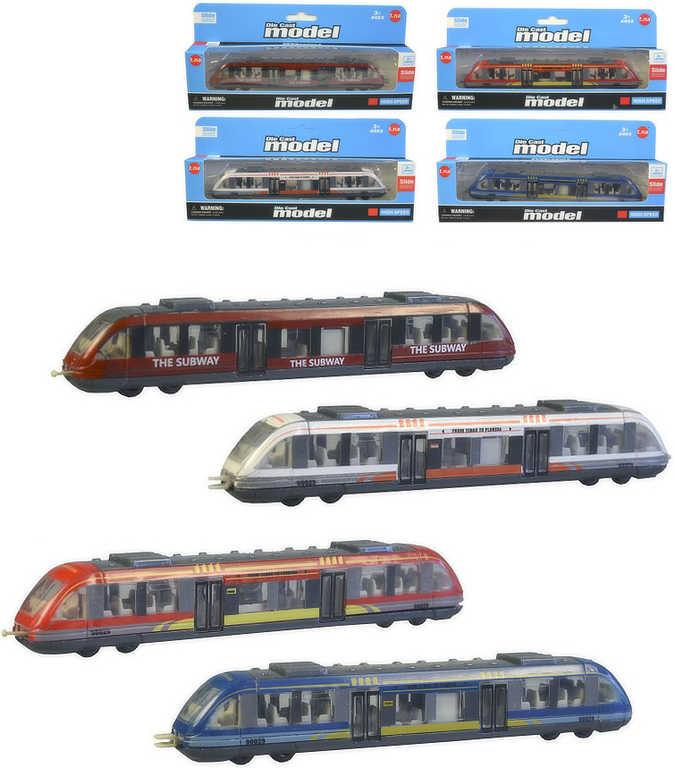 Metro kovová vlaková souprava 17cm volný chod 4 druhy v krabičce