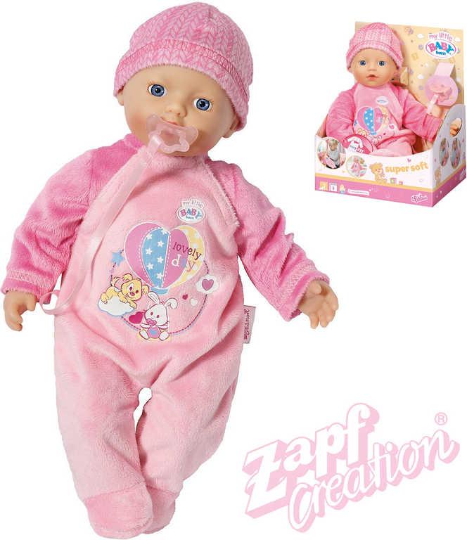 ZAPF BABY BORN Miminko panenka látková My Little Super Soft Easy Fit s dudlíkem