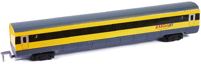 Vagón osobní náhradní žlutý RegioJet doplněk k vláčkodráze