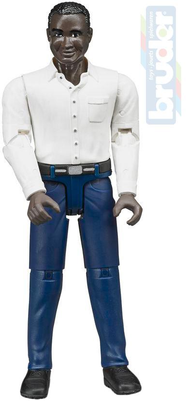 BRUDER 60004 Figurka muž černoch 11cm tmavá pleť plast