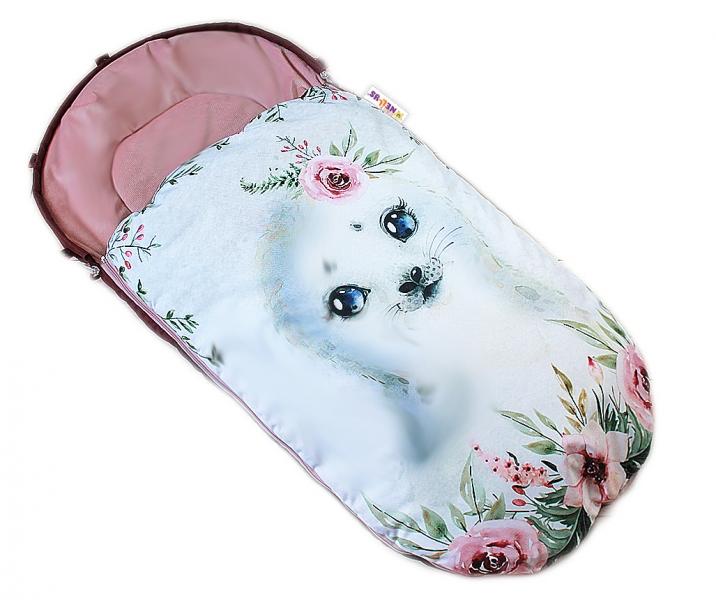 Dětský fusák Baby Nellys WINTER LUXURY velvet, 105 x 55 cm - lachtánek / pudrově růžová