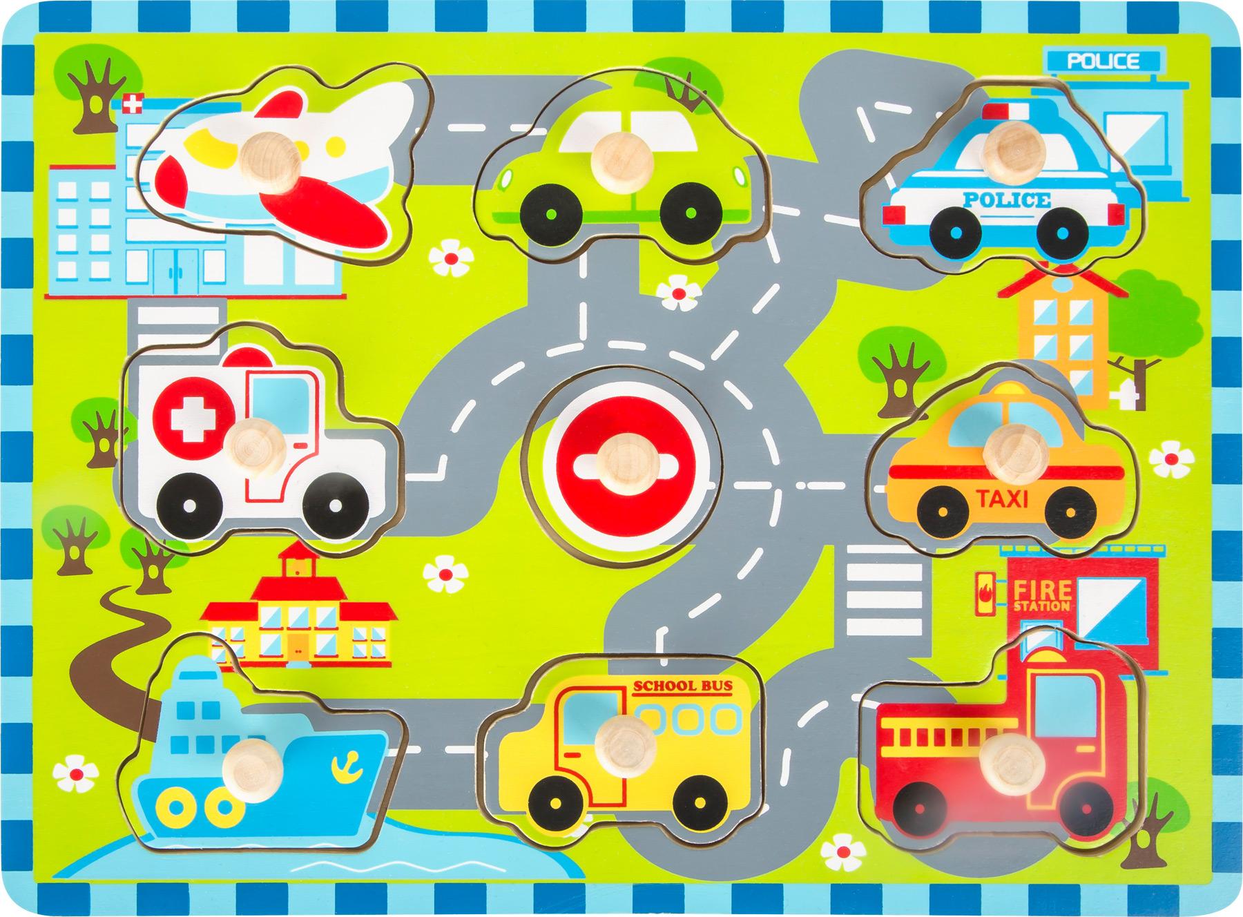 Small Foot Dřevěné vkládací puzzle Městská doprava