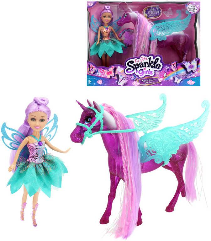 Sparkle Girlz Set koník jednorožec + panenka motýlí víla na baterie