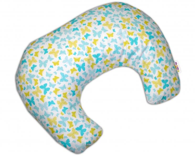 Kojící polštář/podkova - Motýlci žlutí, modří