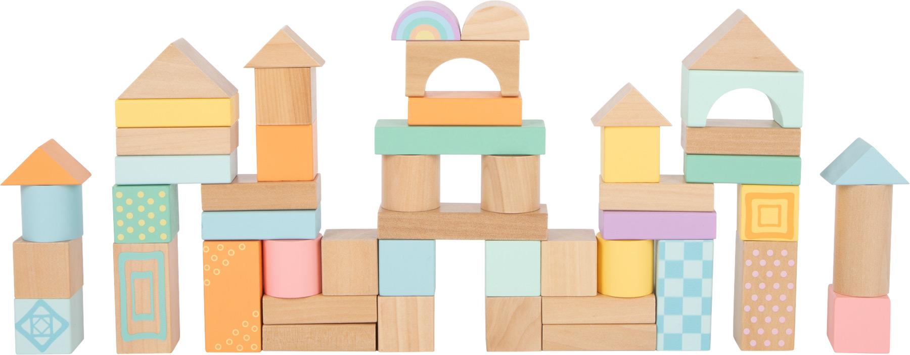 Small Foot Dřevěné kostky pastelové 50 ks