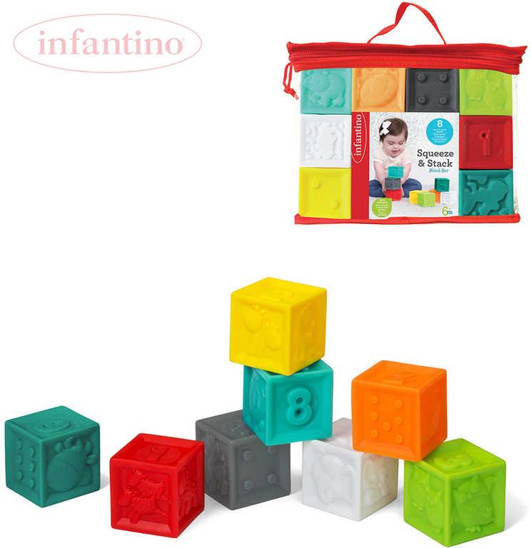 INFANTINO Baby kostky měkké plastové reliéfní set 8ks v tašce pro miminko
