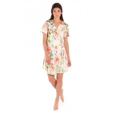 Vestis Ellie plážové šaty - 0001 květinový motiv krémový základ