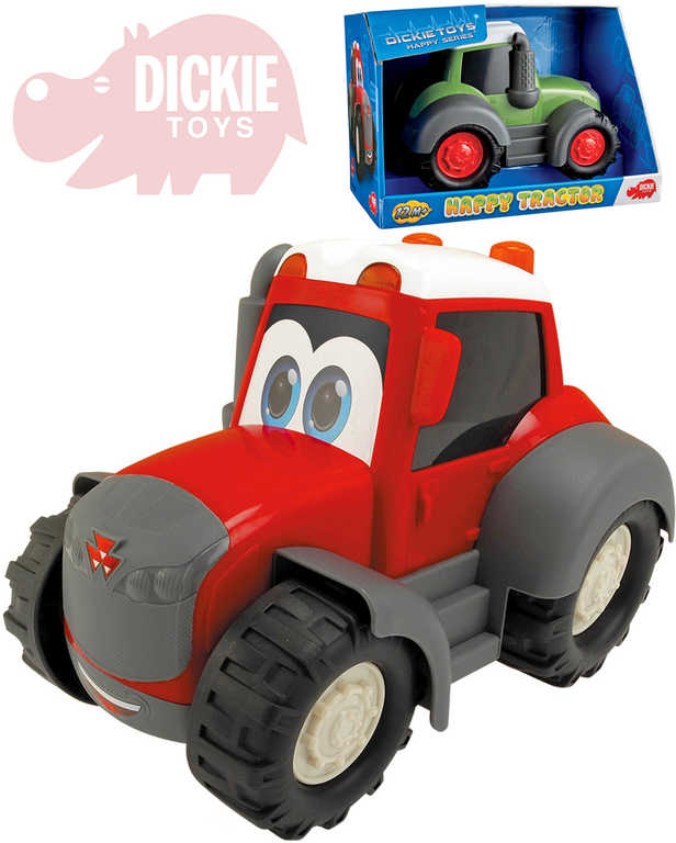 DICKIE Traktor Happy s očima 25cm volný chod 2 barvy plast