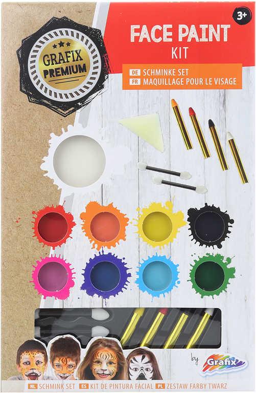 Malování na obličej barvy obličejové set 8ks s aplikátory v krabici