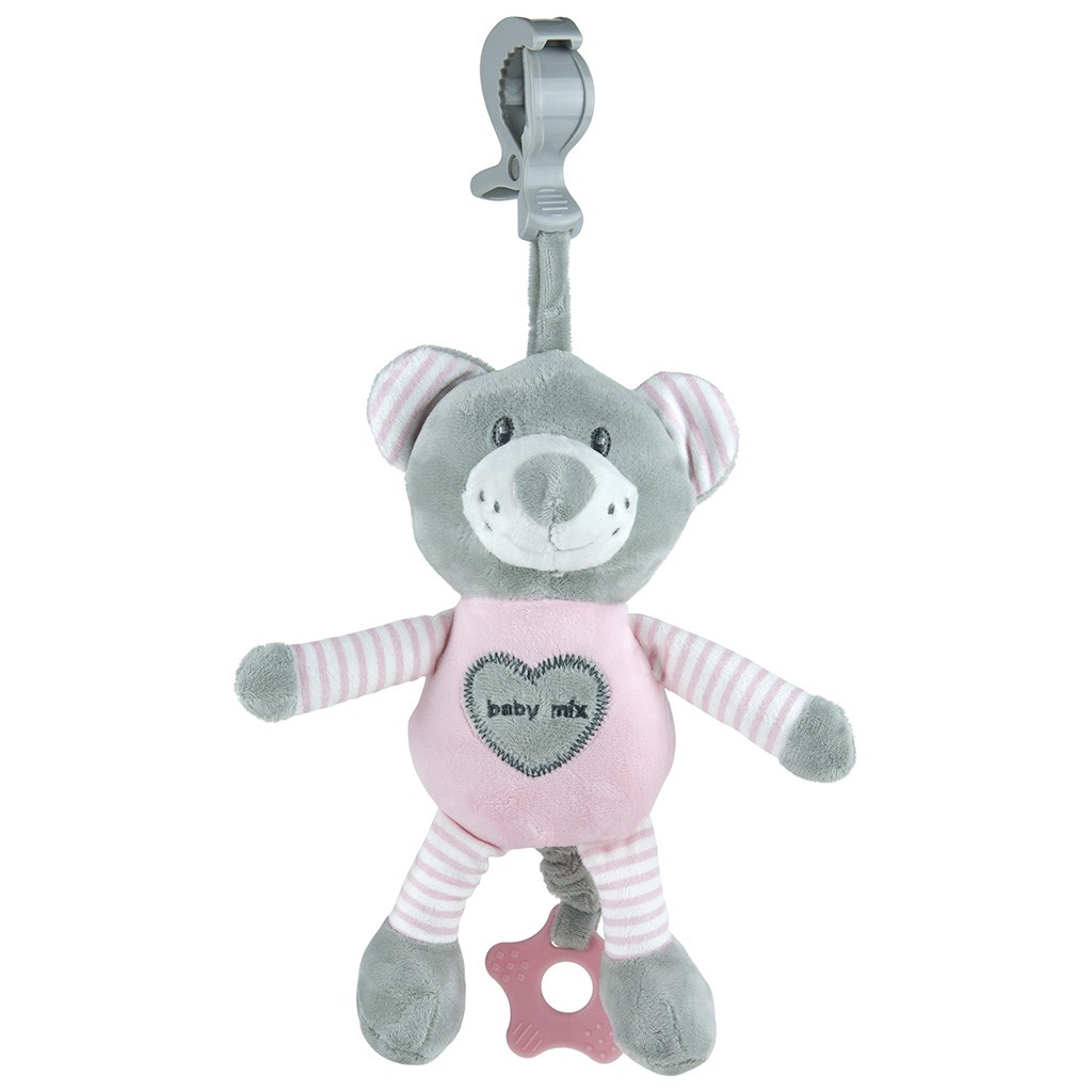 Edukační hrající plyšová hračka s klipem Baby Mix medvěd - růžová