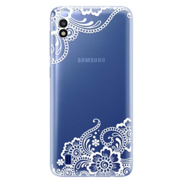 Odolné silikonové pouzdro iSaprio - White Lace 02 - Samsung Galaxy A10