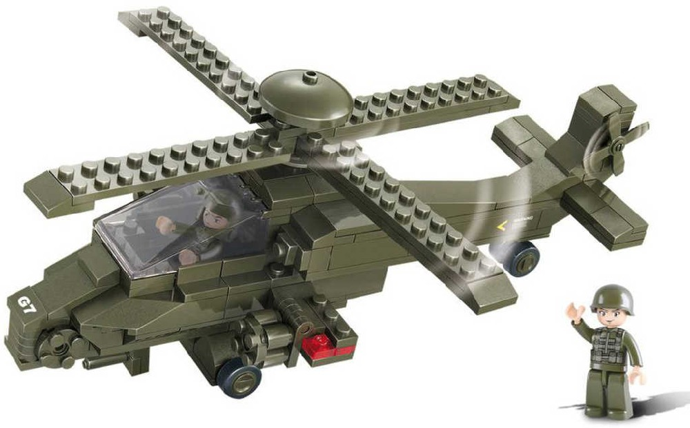 SLUBAN Stavebnice ARMY útočná helikoptéra G7 set 204 dílků + 2 figurky plast