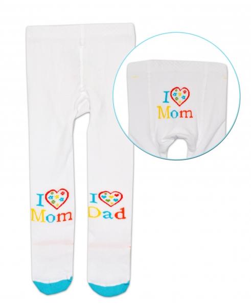 Bavlněné punčocháče Baby Nellys ® - I love Mom, I love Dad - bílé, 80/86 - 80/86