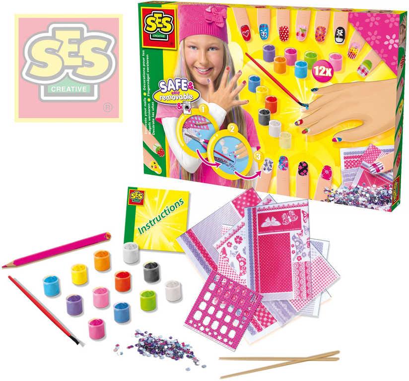Kreativní holčičí set s laky a kamínky ozdob si své nehty SES 14975