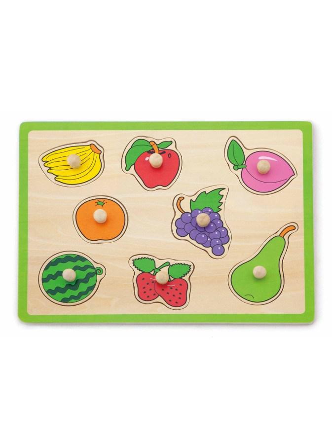 Dětské dřevěné puzzle s úchyty Viga Ovoce - multicolor