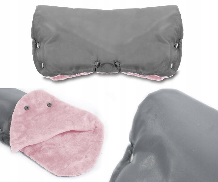 Rukávník ke kočárku fleece - šedý/růžový