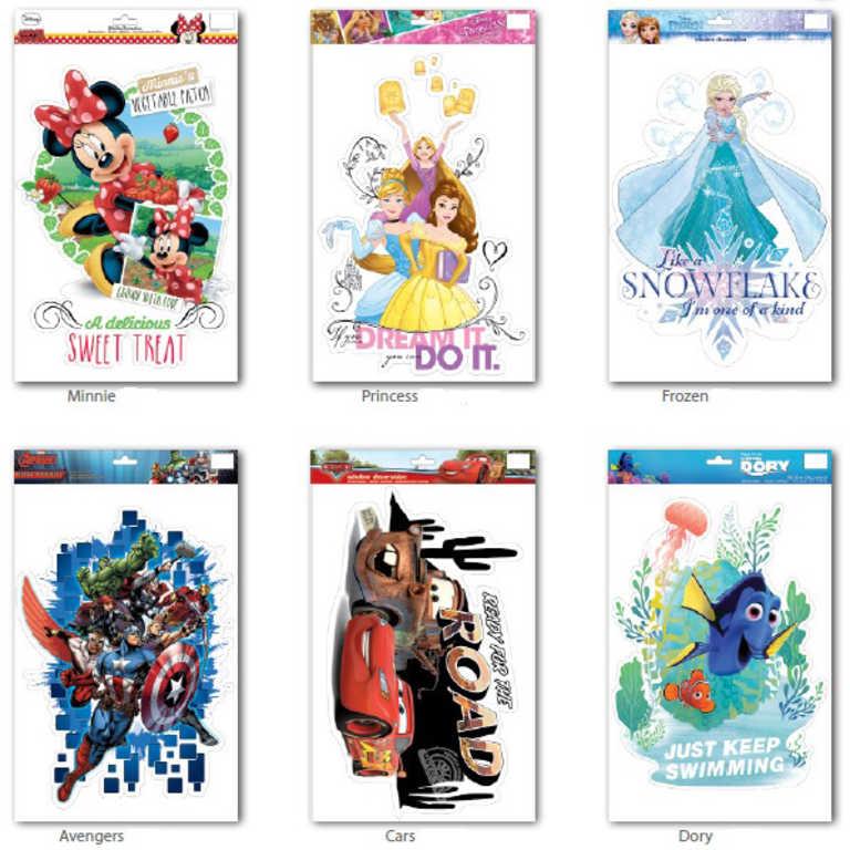Dekorace na okno dětská 48x29cm nálepka okenní velká Disney 6 druhů