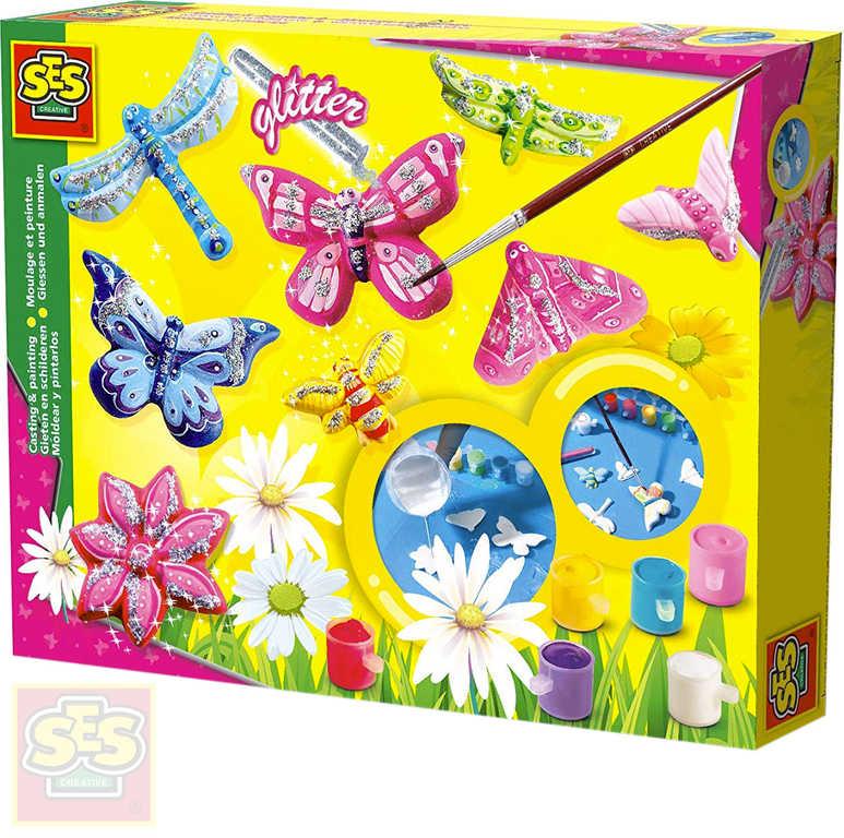 SES CREATIVE Výroba broží Motýli kreativní set barvy 6ks se sádrou a doplňky