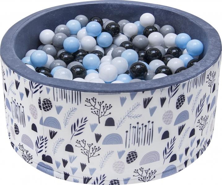 Bazén pro děti 90x40cm - louka, šedý s balónky