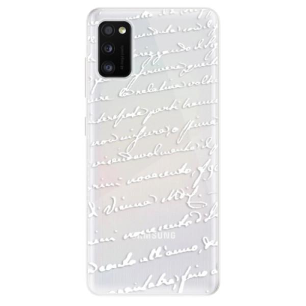 Odolné silikonové pouzdro iSaprio - Handwriting 01 - white - Samsung Galaxy A41