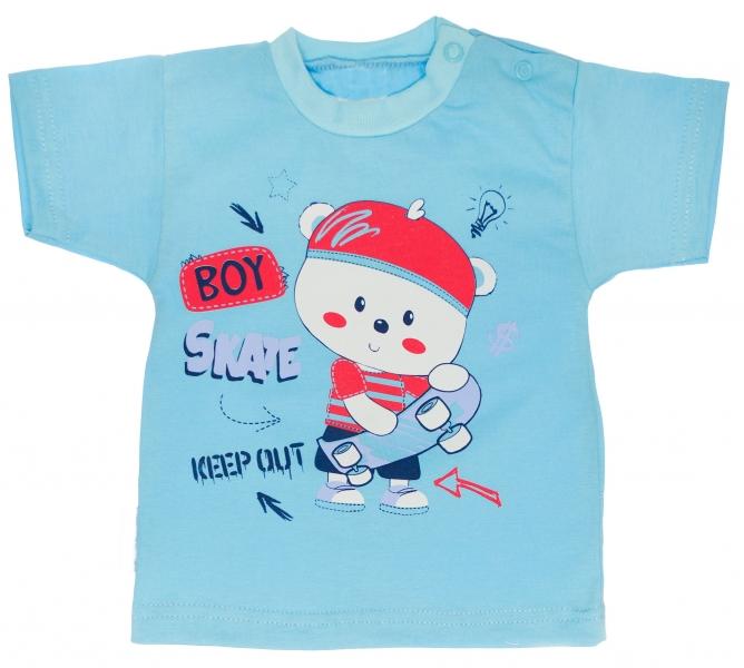 Bavlněné tričko vel. - 80 - Medvídek Skate - tyrkysové - 80 (9-12m)