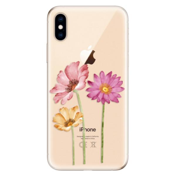 Odolné silikonové pouzdro iSaprio - Three Flowers - iPhone XS