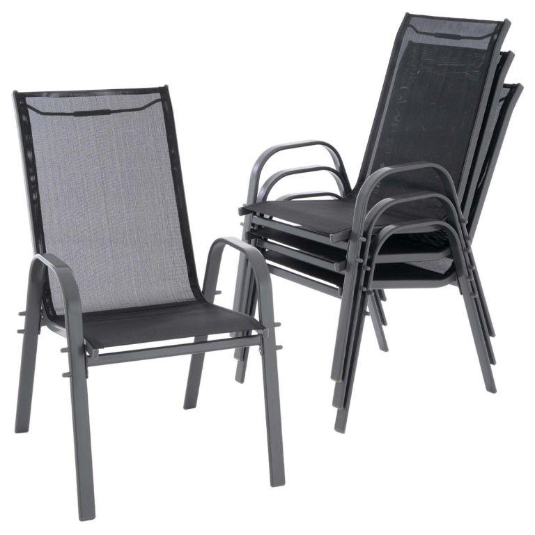 Sada 4 ks zahradních stohovatelných židlí - 55 x 72 x 97 cm
