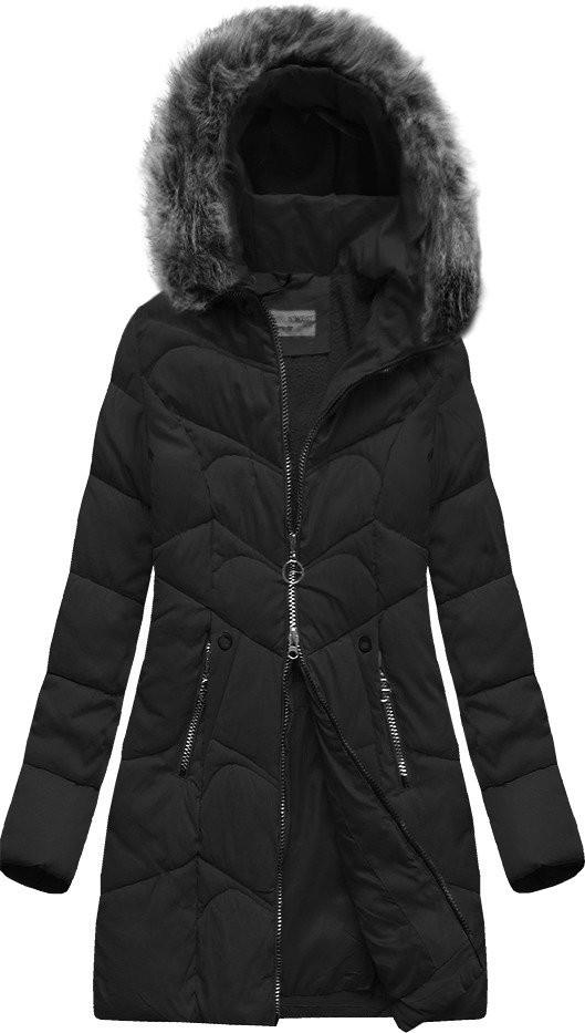 Černá prošívaná bunda s kapucí (B2643)