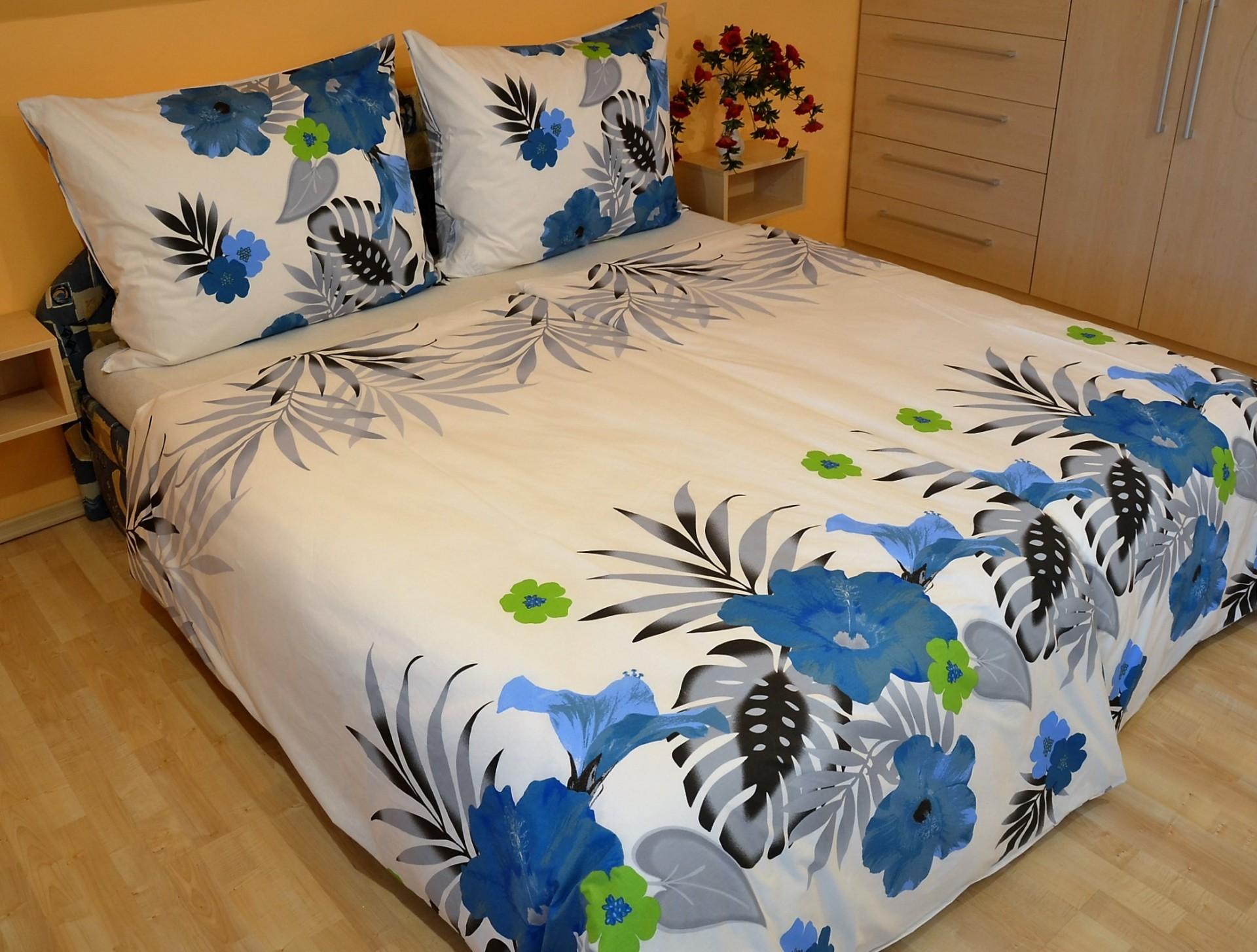 Povlečení francouzské bavlna 220x200,70x90 Lilie modrá, Výběr zapínání: zipový uzávěr