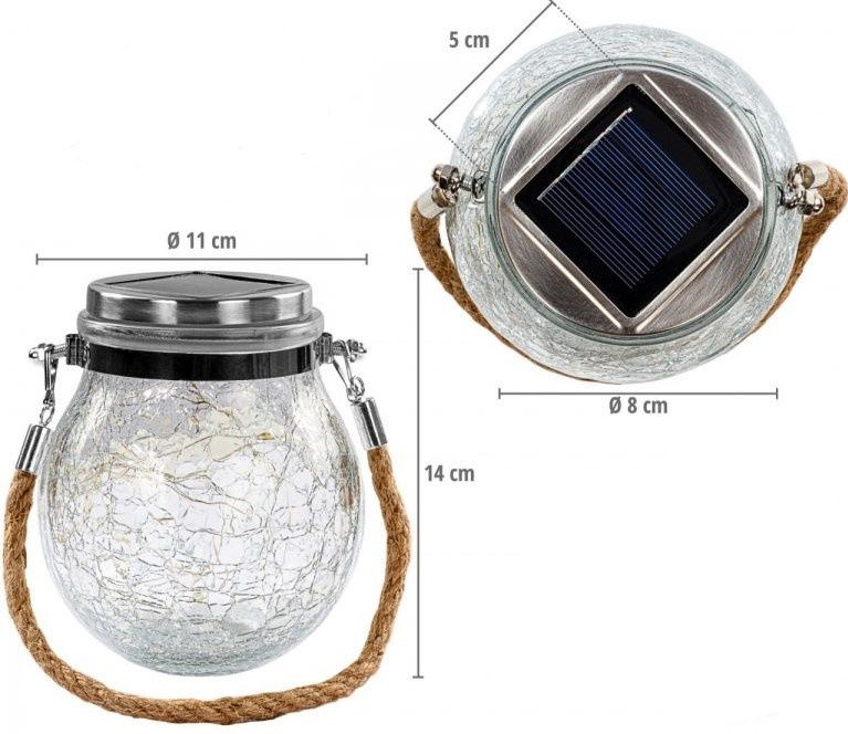 VOLTRONIC Sada kulatých solárních baněk 20 LED, 4 ks