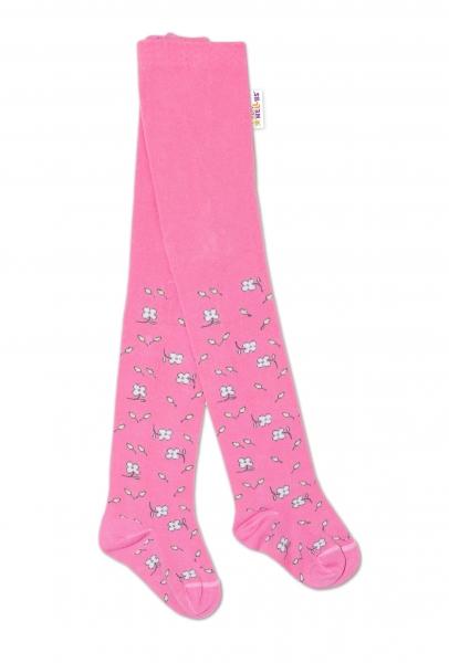 Baby Nellys Dětské punčocháče bavlněné, Kytičky, růžové