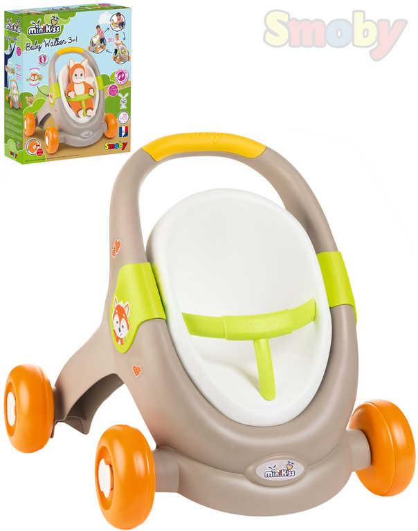 SMOBY Baby Walker Minikiss 3v1 chodítko kočárek sedačka pro panenku hnědá