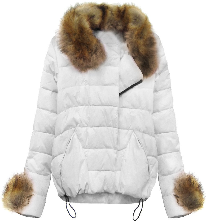 Bílá prošívaná bunda s kožíškem (1993)