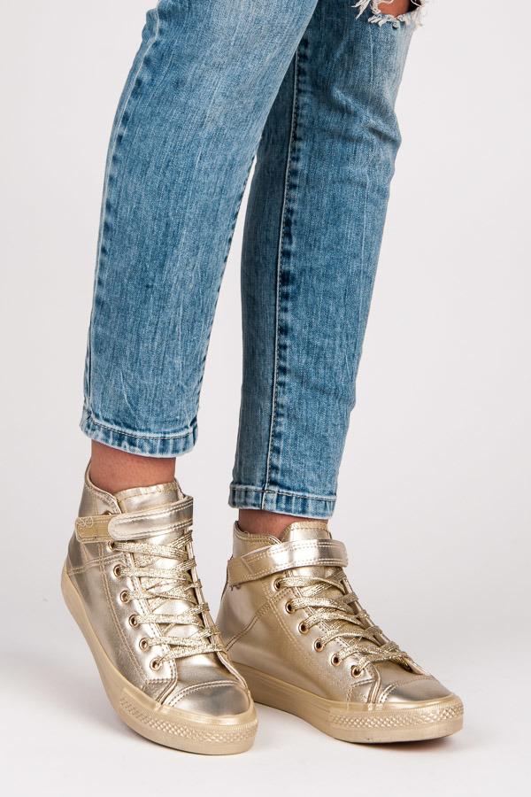 Dětské efektní zlaté kotníkové boty - Gemini - Zlatá/37