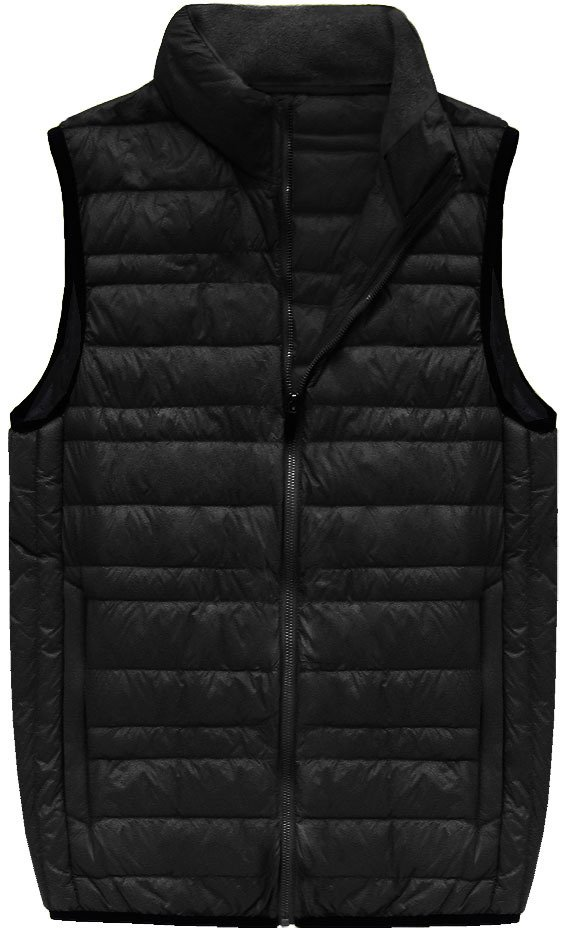 Černá pánská vesta s přírodní vycpávkou (5008) - Černá/M
