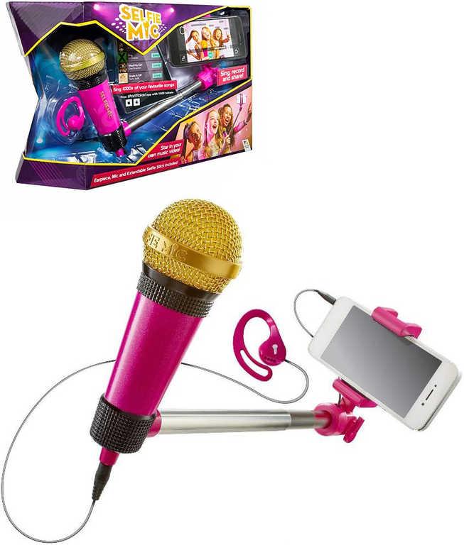 ADC Mikrofon SelfieMic růžový set se selfie tyčí a sluchátkem na tvorbu hudebních videí