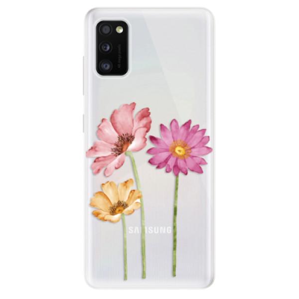 Odolné silikonové pouzdro iSaprio - Three Flowers - Samsung Galaxy A41