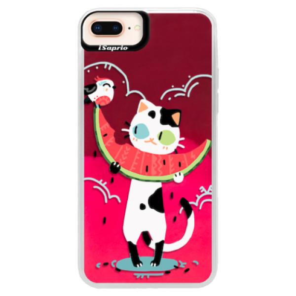 Neonové pouzdro Pink iSaprio - Cat with melon - iPhone 8 Plus