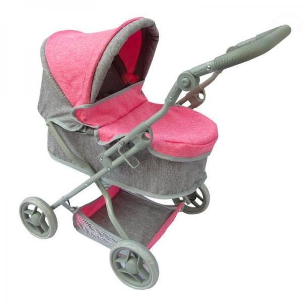 Hluboký kočárek pro panenky Euro Baby - růžovo/šedý