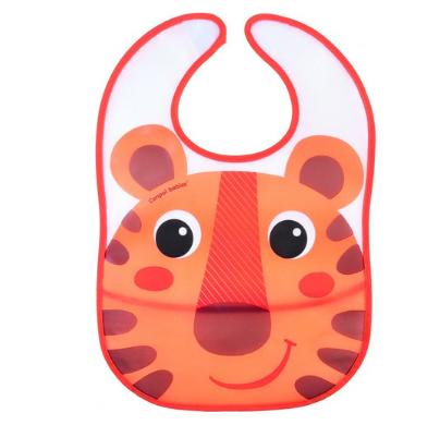 Plastový bryndáček s kapsičkou Hello Little - oranžový