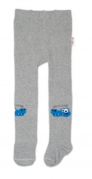 Baby Nellys Dětské punčocháče bavlněné, Crocodiles - šedá, modrá