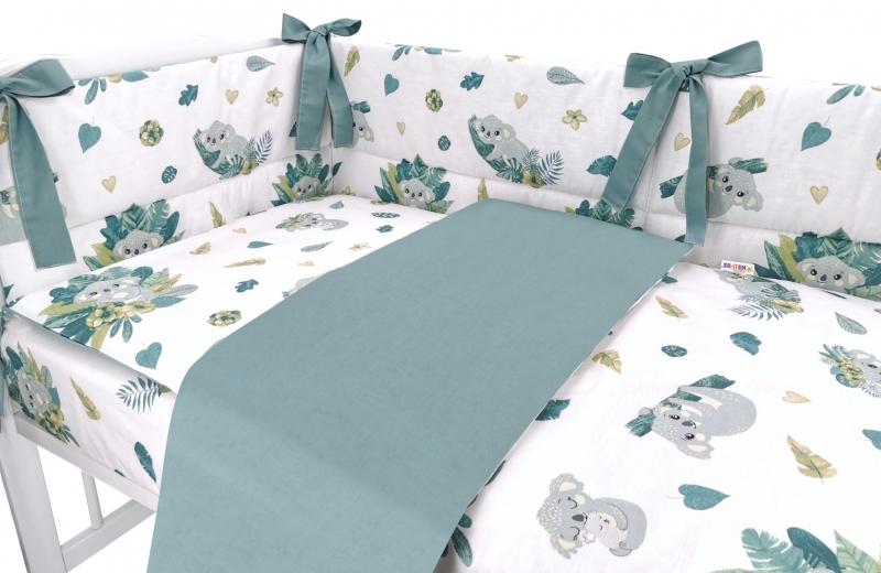 baby-nellys-3-dilna-sada-mantinel-s-povlecenim-tropical-koala-zelena-bila-135x100-cm-135x100