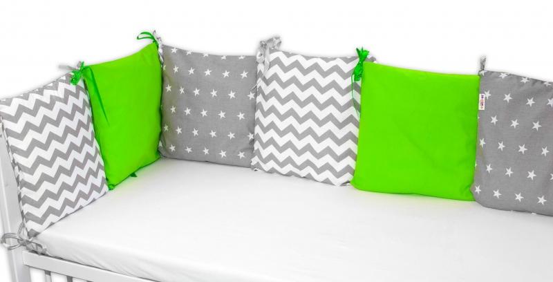 Polštářkový mantinel 6 kusů polštářku - 2x zelený, 2x hvězdičky, 2x zig-zag šedy - 6x 35/3