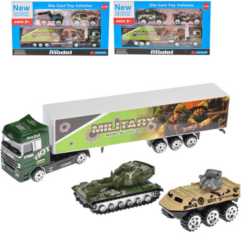Vozidla vojenská set tahač + 2 army auta - 3 druhy
