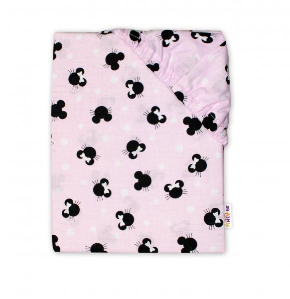 Baby Nellys Dětské bavlněné prostěradlo do postýlky - Minnie, růžová, 140 x 70 - 140x70
