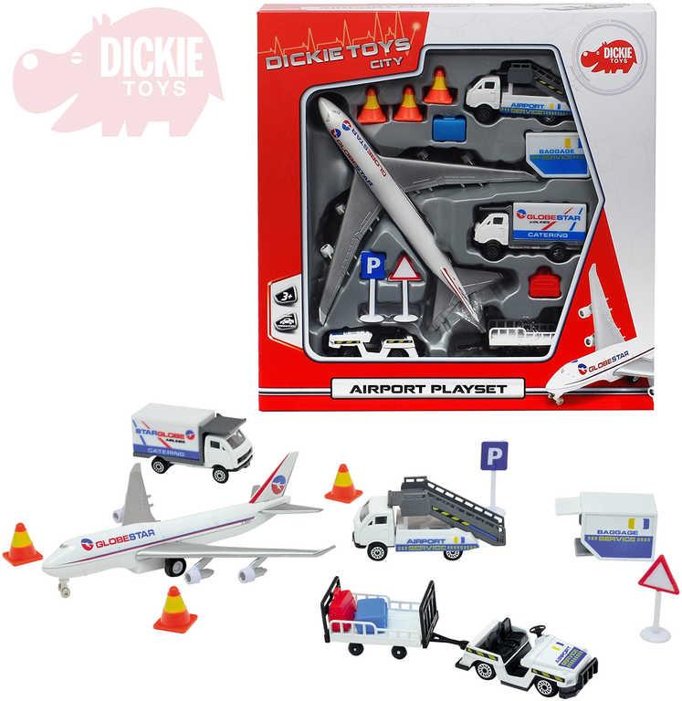 DICKIE Letiště hrací set airport letadlo + 3 auta s doplňky kov v krabici
