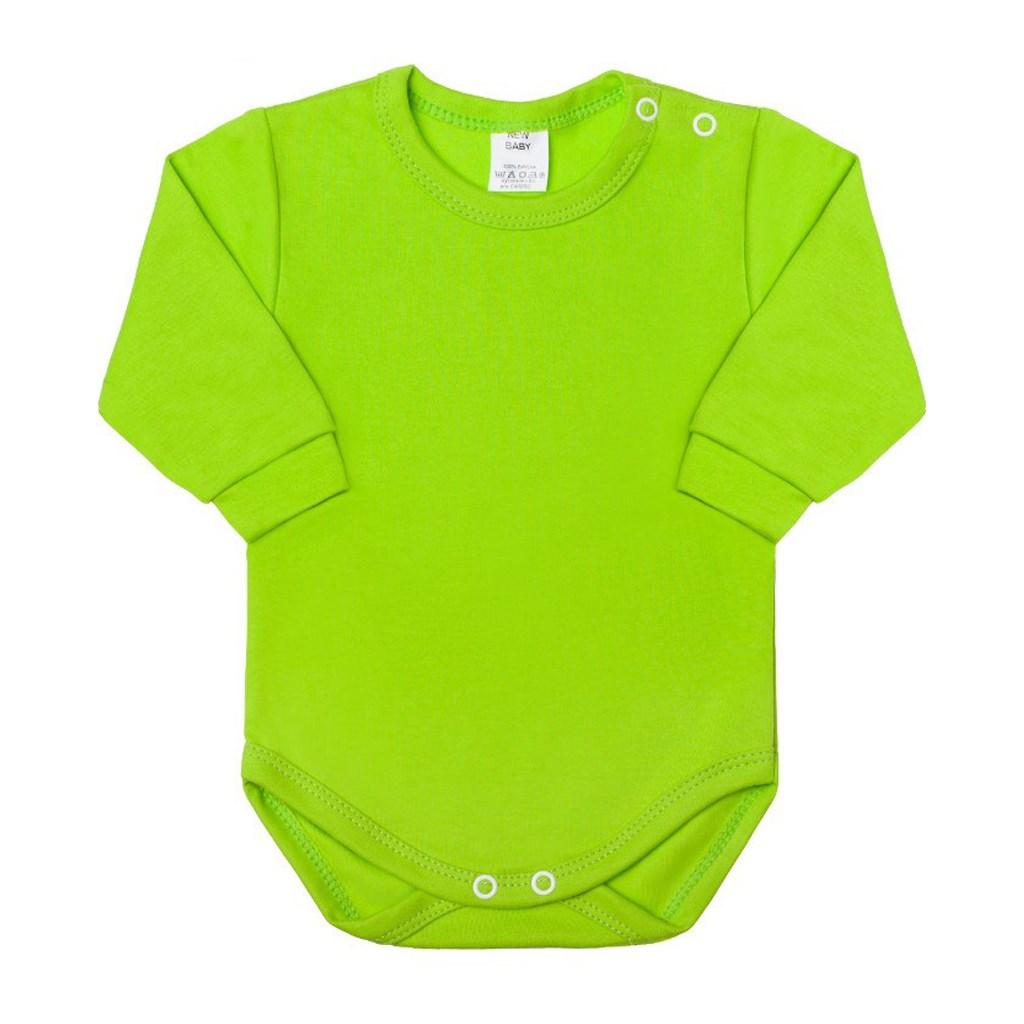 Kojenecké body s dlouhým rukávem New Baby - světle - zelená/68 (4-6m)