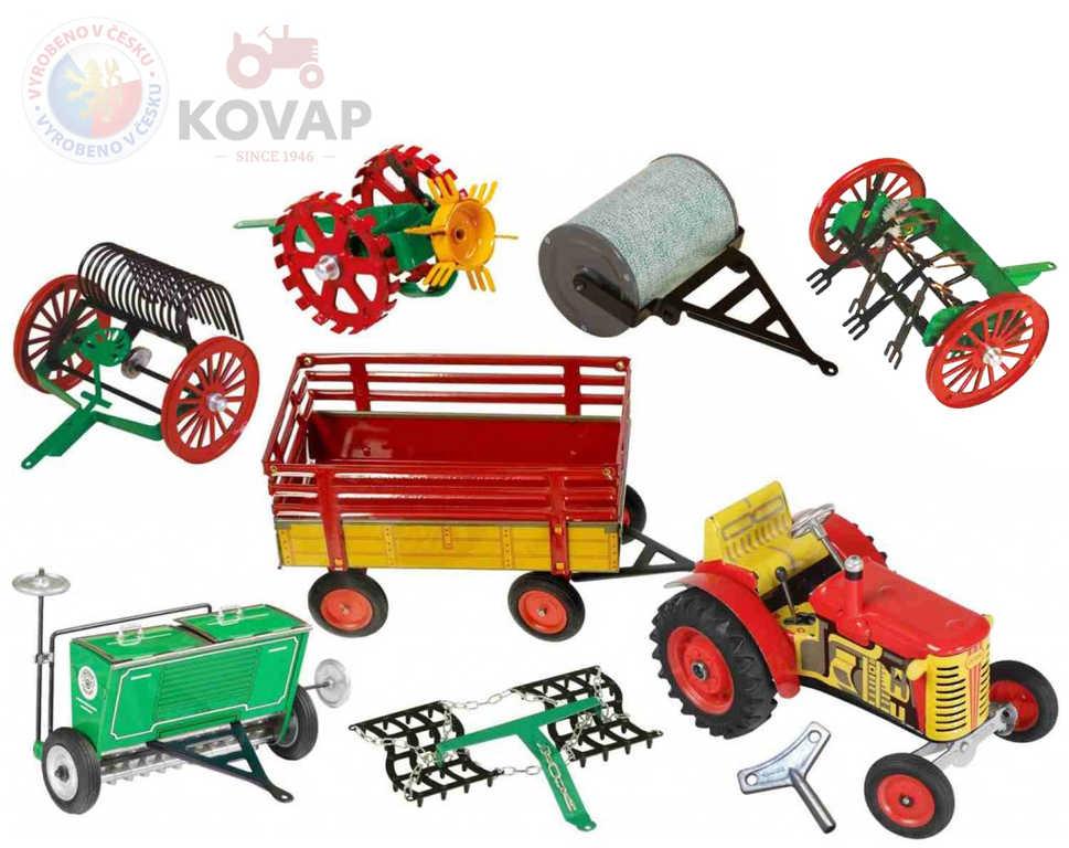 KOVAP Velký zemědělský agroset 2 traktor Zetor k natažení na klíček s doplňky kov